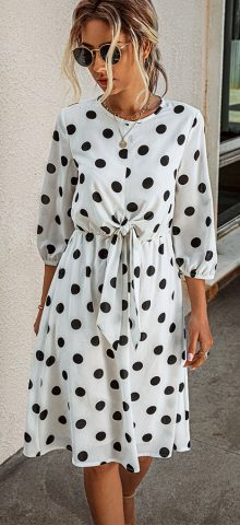 Hualong Cute Short Sleeve Polka Dot Wrap Dress