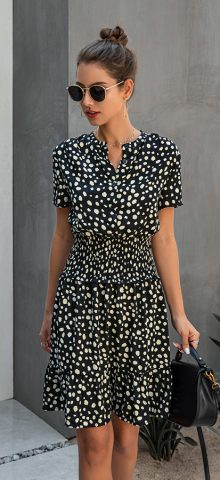 Hualong Cute Short Sleeve Printed Black Short Summer Dresses