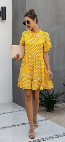 Hualong Cute Short Sleeve Yellow Polka Dot Dress