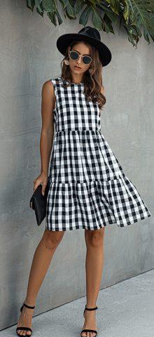 Hualong Cute Sleeveless Black Grid Print Casual Summer Dresses