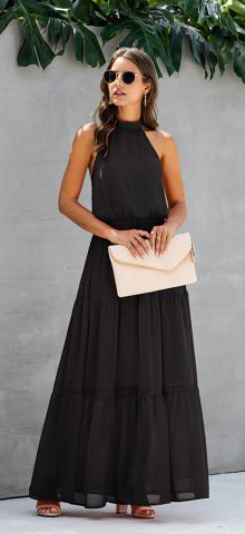 Hualong Cute Sleeveless Halter Black Long Swing Dress