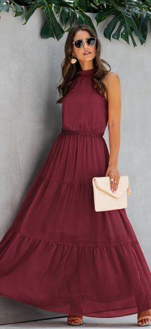 Hualong Cute Sleeveless Halter Long Burgundy Swing Dress