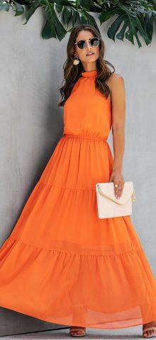 Hualong Cute Sleeveless Halter Long Yellow Swing Dress