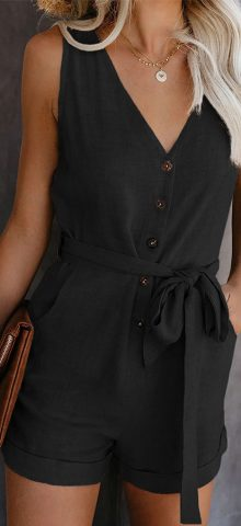 Hualong Cute Sleeveless V Neck Black Button Up Romper