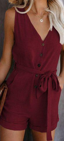 Hualong Cute Sleeveless V Neck Burgundy Button Up Romper