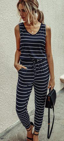 Hualong Cute Stripe Printed Navy Blue Sleeveless Pantsuit