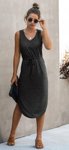 Hualong Cute Summer V Neck Black Sleeveless Wrap Dress