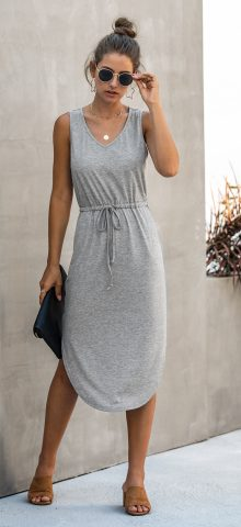 Hualong Cute Summer V Neck Gray Sleeveless Wrap Dress