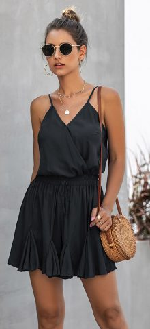 Hualong Cute Summer V Neck Wrap Black Spaghetti Strap Romper