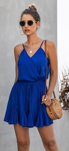Hualong Cute Summer V Neck Wrap Royal Blue Spaghetti Strap Short Romper