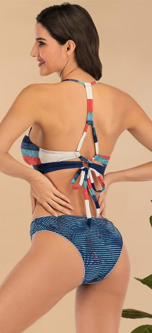 Hualong Cute Two Pieces Padded Color Block Bikini
