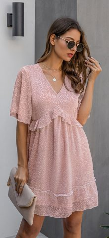 Hualong Cute V Neck Printed Pink Ruffle Short Sleeve Dress