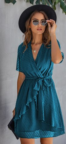 Hualong Cute V Neck Ruffle Lake Blue Short Sleeve Midi Wrap Dress