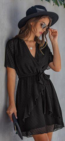 Hualong Cute V Neck Ruffle Short Sleeve Short Black Wrap Dress