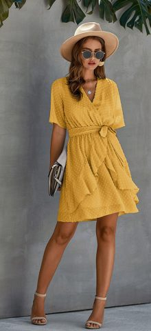 Hualong Cute V Neck Ruffle Yellow Short Sleeve Wrap Dress