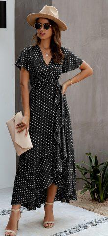 Hualong Cute V Neck Short Sleeve Black Polka Dot Wrap Dress