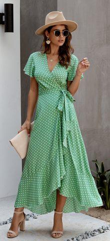 Hualong Cute V Neck Short Sleeve Green Polka Dot Wrap Dress