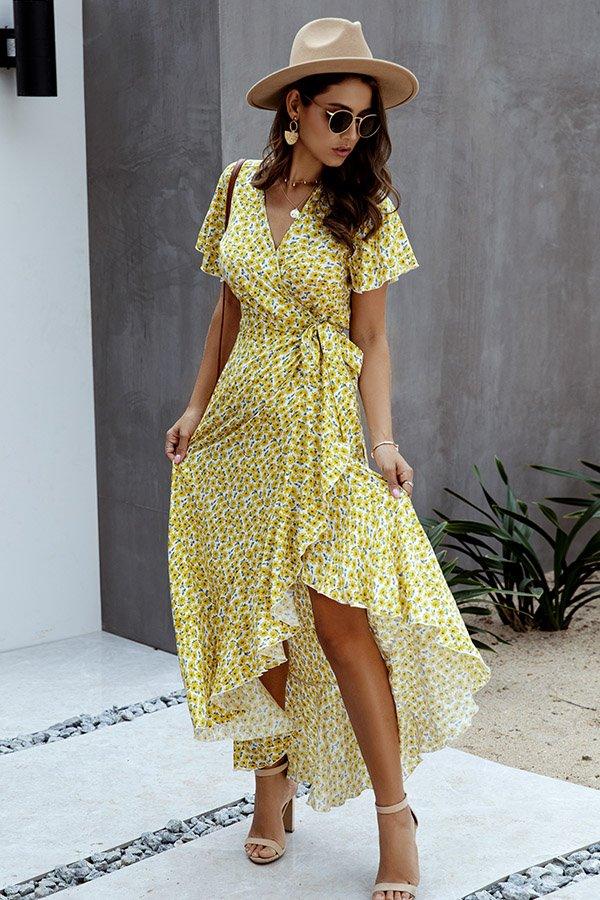 Hualong Cute V Neck Short Sleeve Light Yellow Polka Dot Wrap Dress