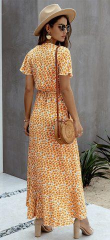 Hualong Cute V Neck Short Sleeve Orange Polka Dot Wrap Dress