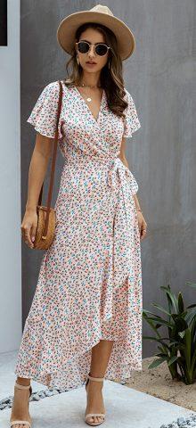 Hualong Cute V Neck Short Sleeve Pink Polka Dot Wrap Dress