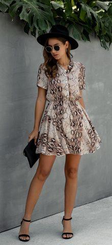 Hualong Cute V Neck Short Sleeve Printed Midi Skater Dress