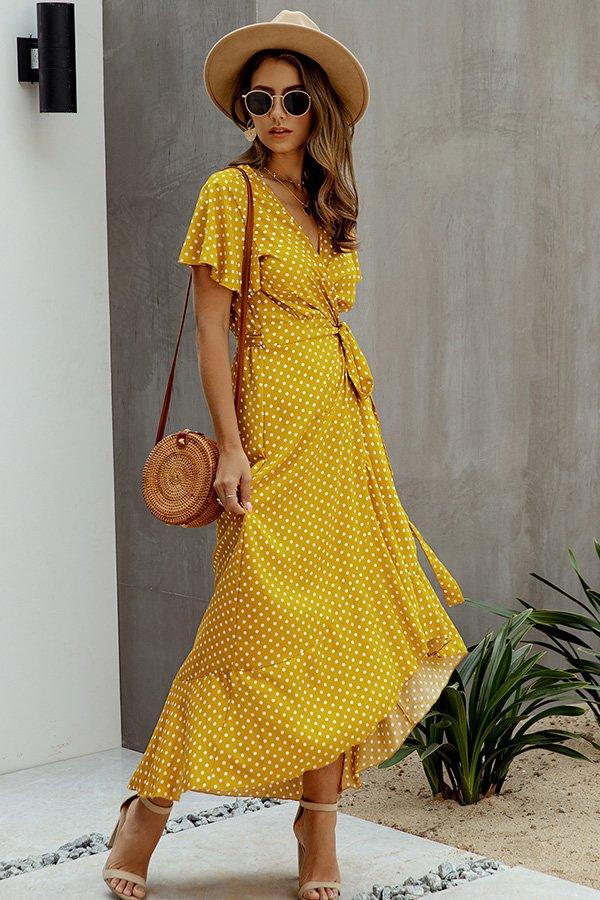 Hualong Cute V Neck Short Sleeve Yellow Polka Dot Wrap Dress