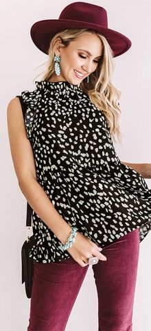 Hualong Cute Women High Neck Black Short Ruffle Sleeve Top