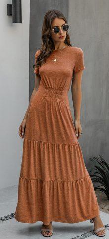 Hualong Elegant Round Neck Brown Short Sleeve Maxi Dress