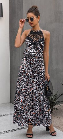 Hualong Elegant Strap Lace Black Long Sleeveless Maxi Dress
