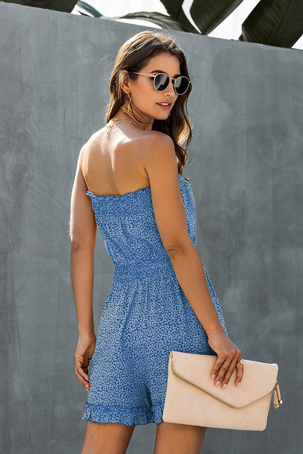 Hualong Sexy Floral Printed Blue Wrap Strapless Romper Shorts