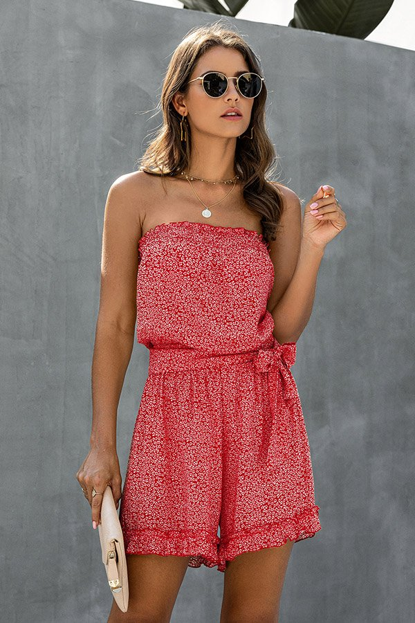 Hualong Sexy Floral Printed Red Wrap Strapless Romper Shorts