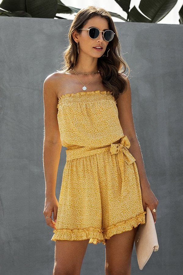 Hualong Sexy Floral Printed Yellow Wrap Strapless Romper Shorts
