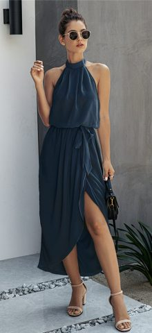 Hualong Sexy High Neck Split Sleeveless Navy Blue Halter Wrap Dress