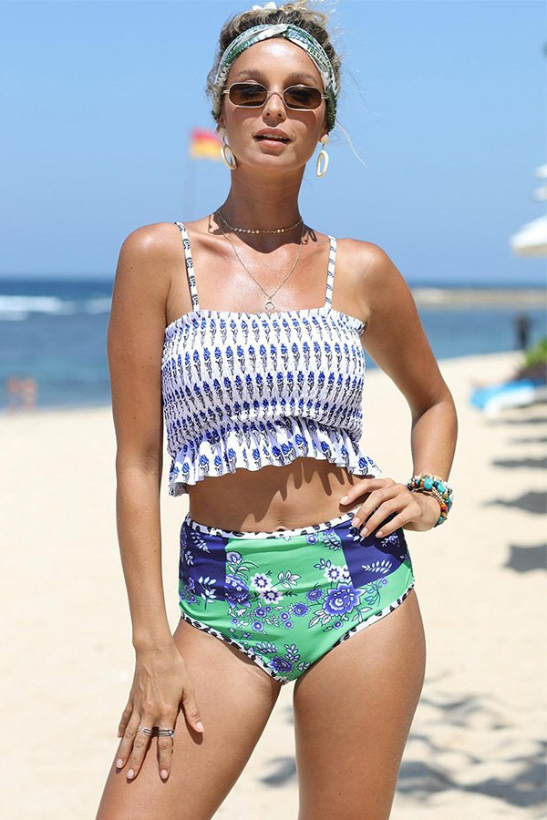 Hualong Sexy High Waisted Printed Smocked Bathing Suit