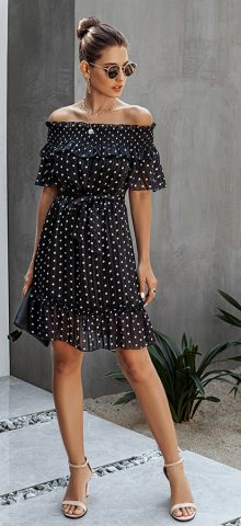 Hualong Sexy Off The Shoulder Ruffle Black Polka Dot Dress