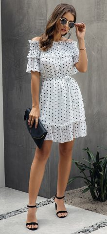 Hualong Sexy Off The Shoulder Ruffle White Polka Dot Dress