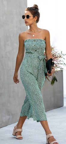 Hualong Sexy Printed Button Front Side Pocket Green Strapless Pantsuit