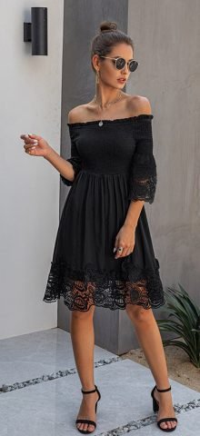 Hualong Sexy Short Sleeve Black Lace Off The Shoulder Dress
