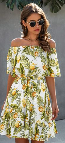 Hualong Sexy Short Sleeve Off The Shoulder Flower Dress