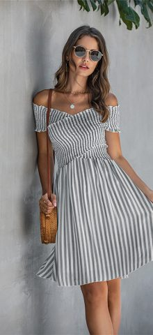Hualong Sexy Short Sleeve Off The Shoulder Stripe Dress