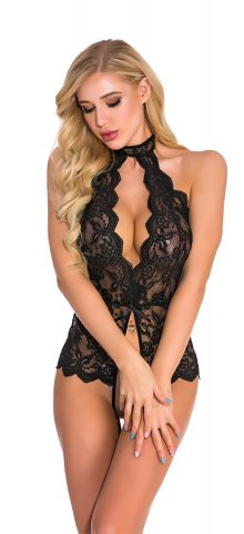 Hualong Sexy Sleeveless Halter Lace Black Snap Crotch Lingerie