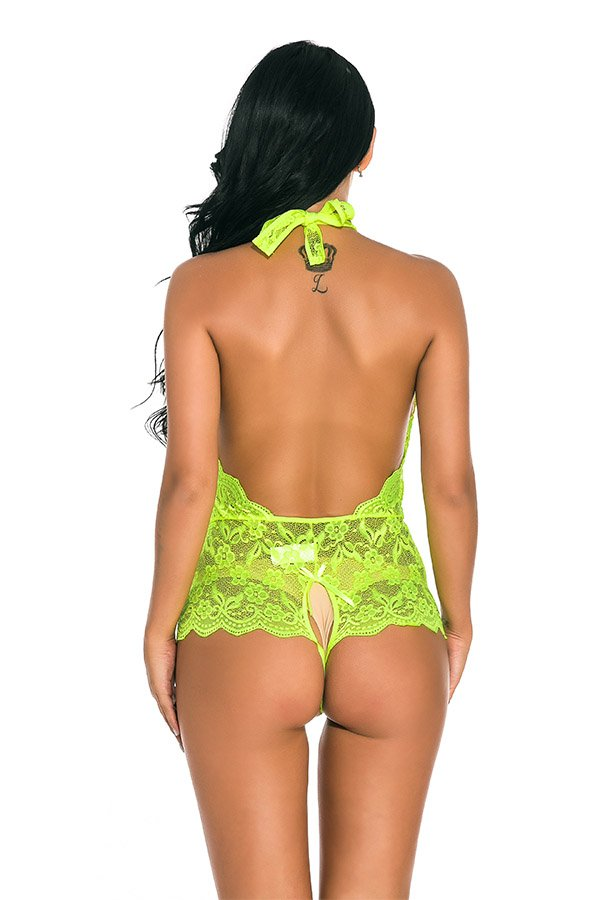 Hualong Sexy Sleeveless Halter Lace Fluorescent Snap Crotch Lingerie