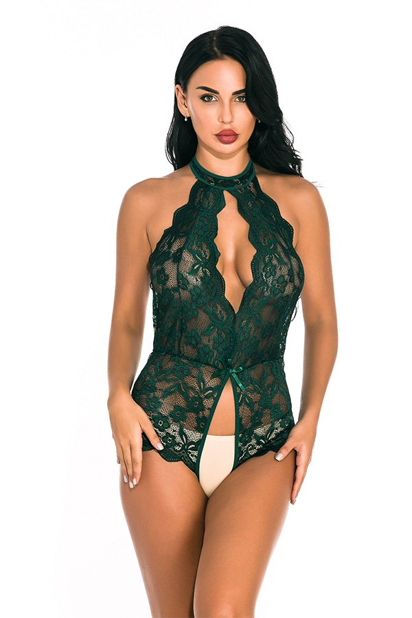 Hualong Sexy Sleeveless Halter Lace Green Snap Crotch Lingerie