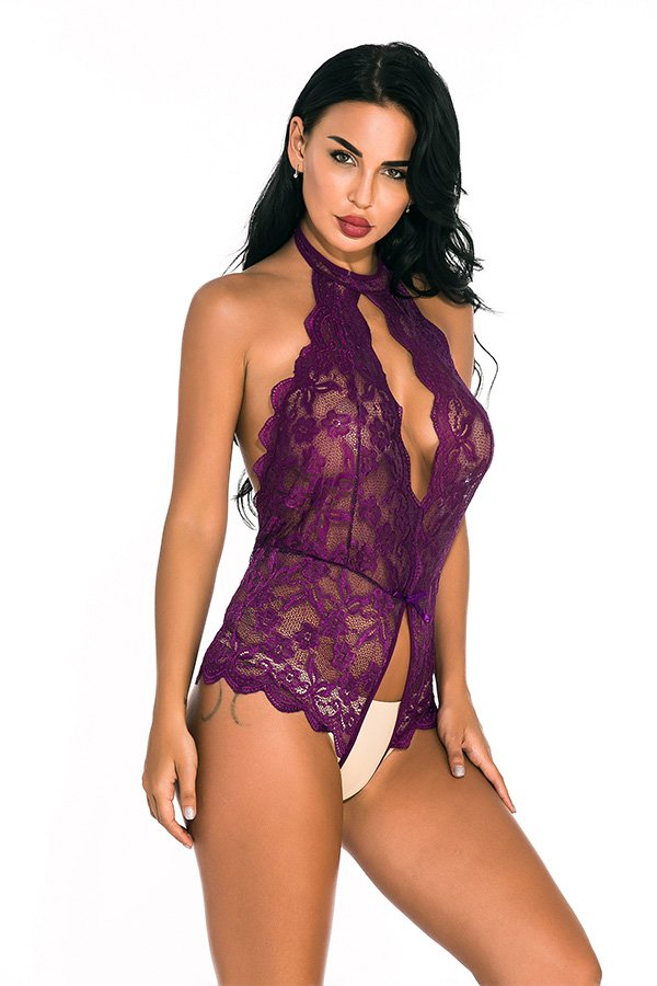 Hualong Sexy Sleeveless Halter Lace Purple Snap Crotch Lingerie