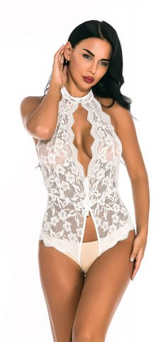 Hualong Sexy Sleeveless Halter Lace White Snap Crotch Lingerie