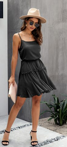 Hualong Sexy Sleeveless Short Black Spaghetti Strap Wrap Dress