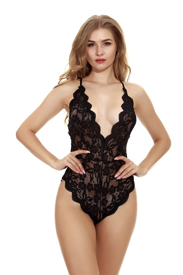 Hualong Sexy Sleeveless Strap Black Lace Underwire Bodysuit