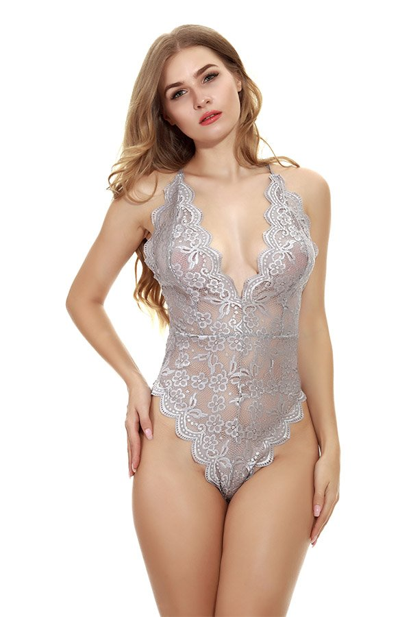 Hualong Sexy Sleeveless Strap Gray Lace Underwire Bodysuit