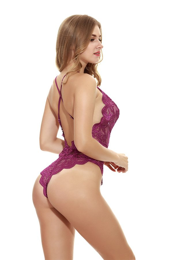 Hualong Sexy Sleeveless Strap Purple Lace Underwire Bodysuit