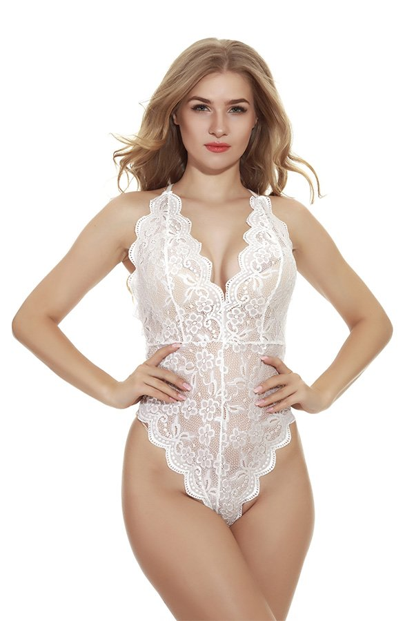 Hualong Sexy Sleeveless Strap White Lace Underwire Bodysuit